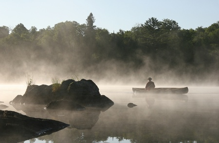 Canoeist on a Misty Lake, Haliburton Highlands, Ontario