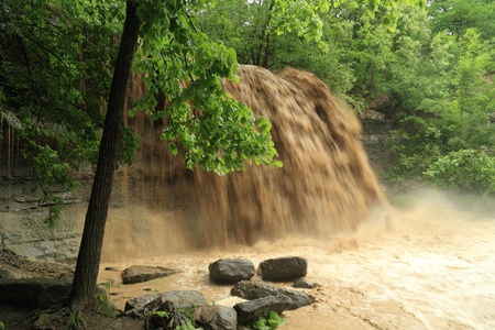 soil erosion: Waterfall Carrying Sediment After Heavy Rain - Rock Glen, Ontario, Canada