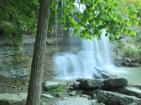 devonian: Waterfall in the Carolinian Forest at Rock Glen Conservation Area - Arkona, Ontario, Canada