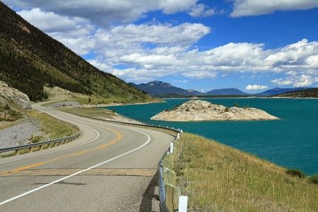 rocky road: Winding Road and Lake - Kootenay Plains Wildlife Refuge, Alberta, Canada