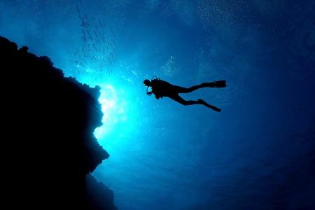 Scuba Diver Silhouette - Cozumel, Mexico photo