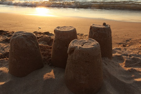 sandcastles: Sandcastles on Beach at Sunset - Lake Huron, Ontario, Canada