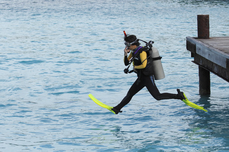 Vrouw Scuba Diver Het uitvoeren van een Giant Stride Entry Van een dock - Bonaire, Nederlandse Antillen Stockfoto