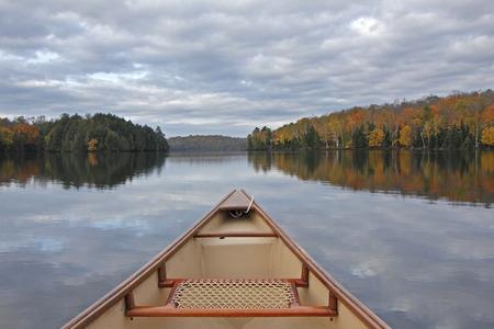 Canoe Bow on an Autumn Lake - Ontario, Canada photo