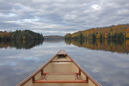 Canoe Bow on an Autumn Lake - Ontario, Canada
