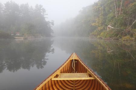 Cedar Canoe Bow on a Misty River in Autumn - Ontario, Canada