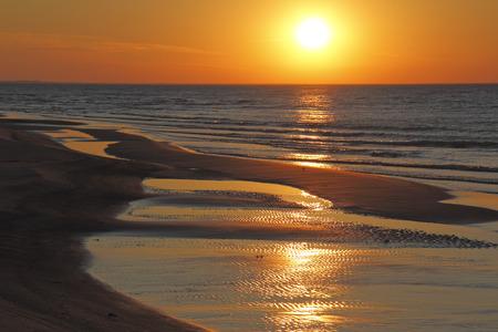 Ripples on Lake Huron Beach at Sunset - Ontario, Canada