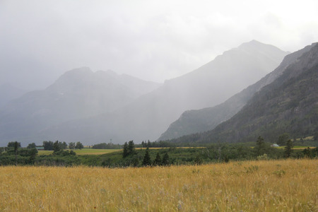 Approaching rainstorm in the Rocky Mountain foothills - Waterton Lakes National Park