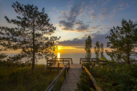 pinery: Boardwalk Leading to a Lake Huron Sunset - Pinery Provincial Park, Ontario, Canada