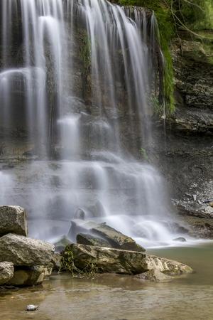 sedimentary: Waterfall Cascading Over Devonian Period Sedimentary Rock - Rock Glen Conservation Area, Ontario, Canada