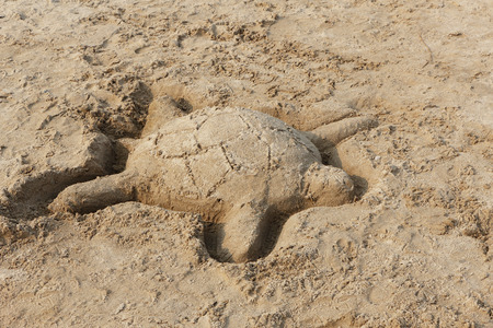 pinery: Sand Sculpture of a Turtle next to Lake Huron - Ontario, Canada Stock Photo