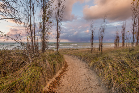 pinery: Path through a sand dune to a Lake Huron beach - Grand Bend, Ontario, Canada Stock Photo