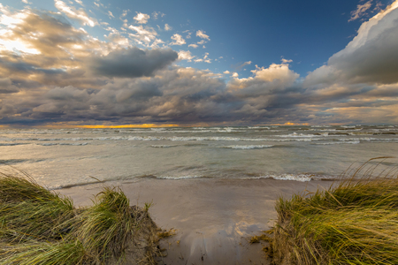 lake beach: Approaching Storm Clouds Over a Lake Huron Beach in Summer - Ontario, Canada Stock Photo