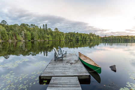 Canoe Tied to a Dock - Haliburton, Ontario, Canada