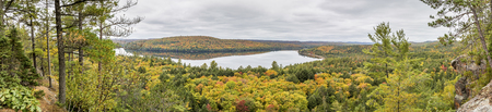 wetland: Panorama Looking Out Over a Lake Surrounded by Forest in Autumn - Algonquin Provincial Park, Ontario, Canada
