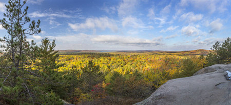 provincial forest parks: Panorama of a Mixed Forest in Autumn From a Rocky Lookout - Algonquin Provincial Park, Ontario, Canada