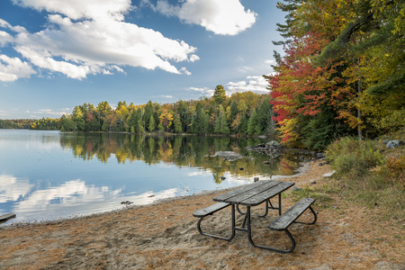 provincial forest parks: Picnic Table on a Beach in Autumn - Silent Lake Provincial Park, Ontario, Canada