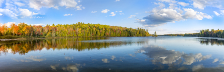 provincial forest parks: Panorama of a Lake in Autumn - Silent Lake Provincial Park, Ontario, Canada Stock Photo