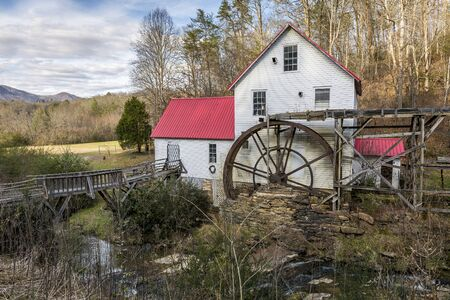 grist mill: Historic Old Grist Mill in the Smoky Mountains in Autumn - North Carolina