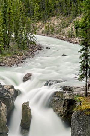 alberta: Sunwapta Falls - Jasper National Park, Alberta, Canada Stock Photo