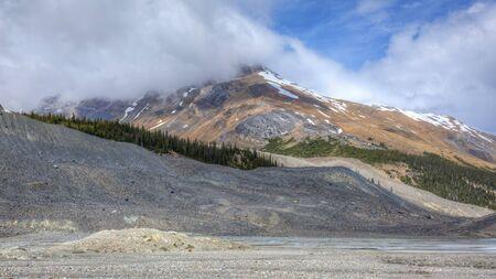 jasper: Snow-capped Mountain in Summer - Jasper National Park, Alberta, Canada Stock Photo