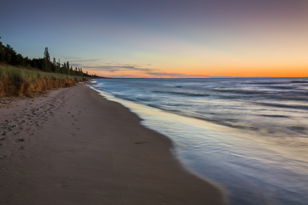 pinery: A Lake Huron beach after sunset - Pinery Provincial Park, Ontario, Canada