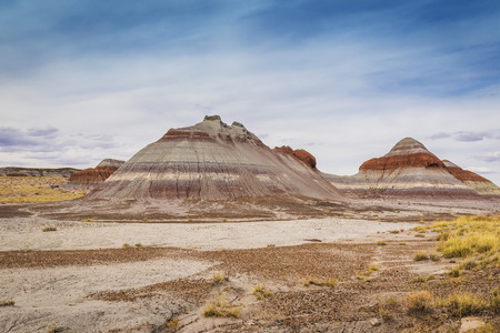 A view of the Teepee rock formations in Painted Desert National Park, Arizona Stock Photo
