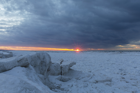 Ice Formations on the Shore of Lake Huron at Sunset - Grand Bend, Ontario, Canada