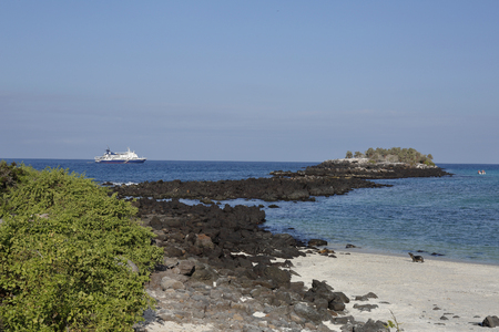 South Plaza Island coast with a small cruise ship offshore - Galapagos Islands National Park