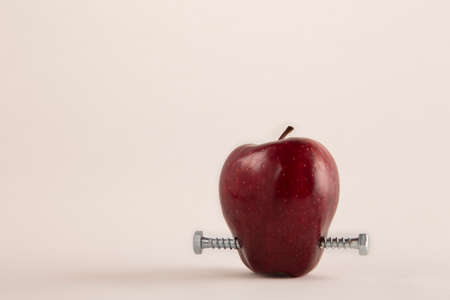 genetically modified: Apple with bolts  a metaphor about genetically modified food Stock Photo
