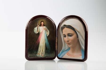 virgen maria: Jes�s Misericordioso y Nuestra Se�ora de Medjugorje iconos Foto de archivo