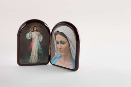 the merciful: Merciful Jesus and Our Lady of Medjugorje icons