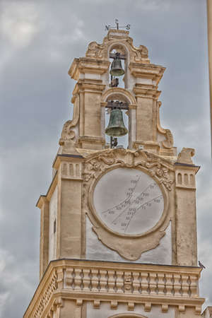 horologe: sundial on the clock tower of the Cathedral Basilica of St. Agatha in Gallipoli (Le) Stock Photo