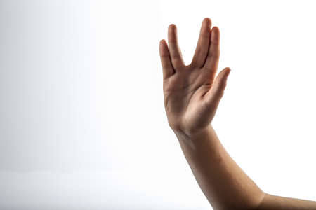 middlefinger: Young hands make Vulcan Salute: Long Live and Prosper Stock Photo