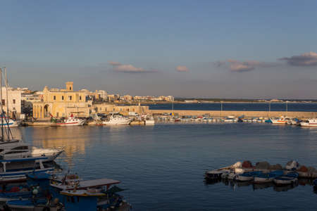 sain: Sea bay between the Rivelino castle and the Church of Sain Mary of Canneto in the old town of Gallipoli (Le) in southern Italy