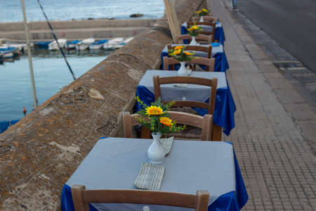 sain: Restaurant on the sea bay between the Rivelino castle and the Church of Sain Mary of Canneto in the old town of Gallipoli (Le) in southern Italy