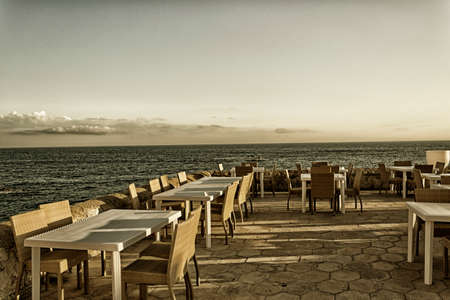 ionio: Restaurant on La Puritate (that is the purity) view: the beach of the old town of Gallipoli (Le) in the southern of Italy Stock Photo