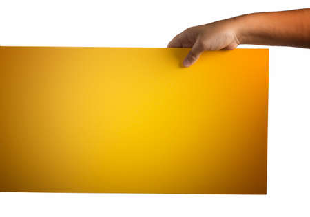 supported: A light yellow orange plywood square blank sign supported by young hands on light background