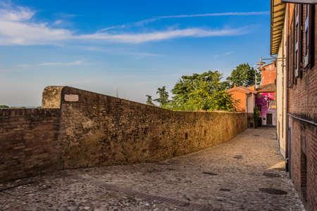 The medieval brick walls of the small village of Dozza near Bologna in Emilia Romagna, Italy photo