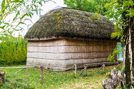 Typical Traditional country huts diffused until last century in Northern Italy region, Emilia Romagna.  Made with 5 marsh plants: common reed, lesser bulrush, sedge, bulrush and sharp rush