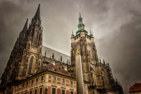The Exterior Facade Of Cathedral St Vitus In Prague A Church With Dark