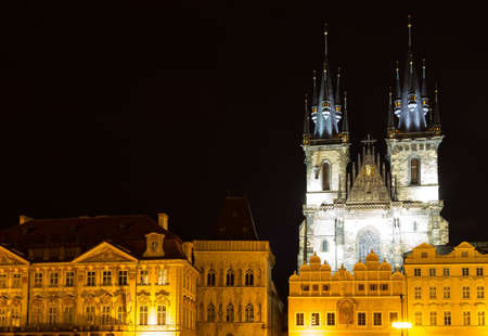 tynsky church: Night view of The gothic  Church of Mother of God in front of Tyn in Old Town Square in Prague