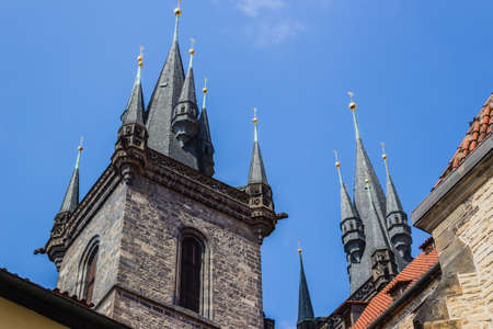 The gothic  Church of Mother of God in front of Tyn in Old Town Square in Prague
