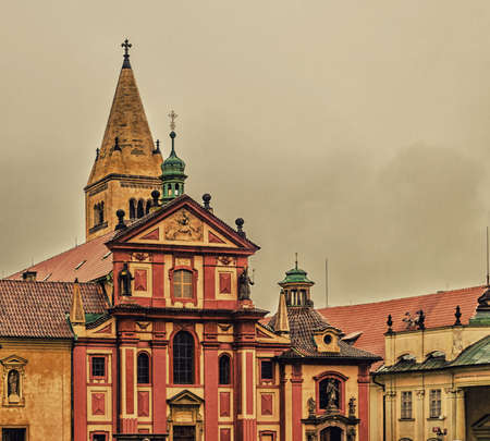 religiosity: the exterior facade of Saint George Basilica: red and yellow colours Editorial