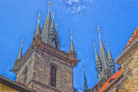 The gothic  Church of Mother of God in front of Týn in Old Town Square in Prague