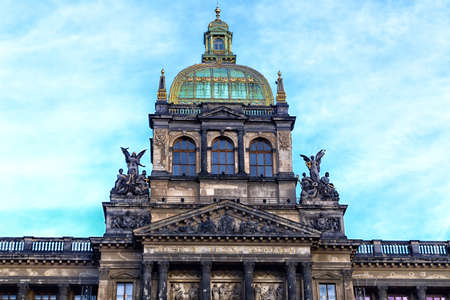 patron of europe: Buildings  and houses in the historical center of Prague. Wenceslas square in Prague in Central Europe: the equestrian statue of Saint Wenceslas and the Neorenaissance National Museum Stock Photo