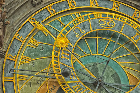 The medieval astronomical clock in the Old Town square in Prague Banco de Imagens - 34462954