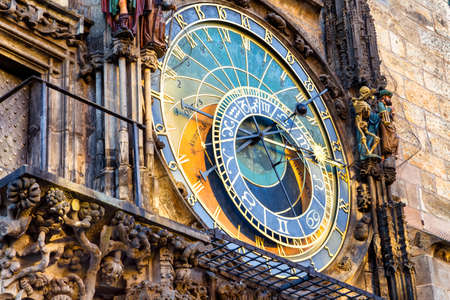 The medieval astronomical clock in the Old Town square in Prague Фото со стока - 34463193