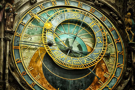 old time: The medieval astronomical clock in the Old Town square in Prague