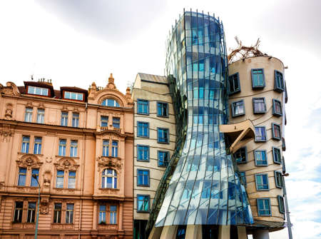 dancing house: The dancing house in Prague: glass and steel curved walls